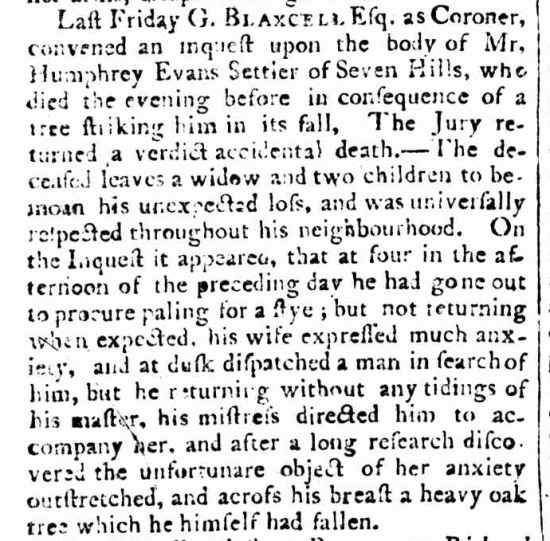 "Report of Humphrey Evans's death, ""Sydney,"" Sydney Gazette and New South Wales Advertiser (NSW: 1803-1842), Sunday 4 August 1805, p.2"
