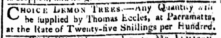 """Classified Advertising,"" The Sydney Gazette and New South Wales Advertiser (NSW: 1803 - 1842), Sunday 26 March 1809. p.2"