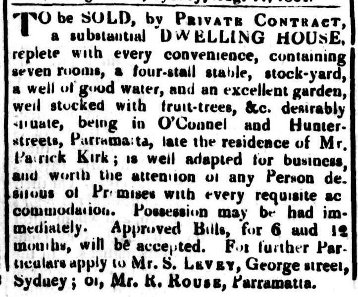 1824-08-12 - Advertisement for the property that would become Bennett's Bakery