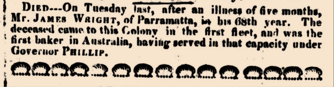 """Family Notices,"" The Sydney Gazette and New South Wales Advertiser, Thursday 17 March 1825 p.3"