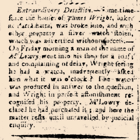 """""""EXTRAORDINARY DETECTION,"""" The Sydney Gazette and New South Wales Advertiser, Sunday 25 May 1806 p.4"""