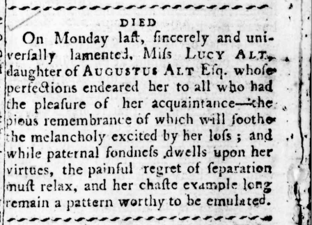 """""""DIED,"""" Sydney Gazette and New South Wales Advertiser (NSW: 1803 - 1842), Sunday 23 March 1806, p.4"""