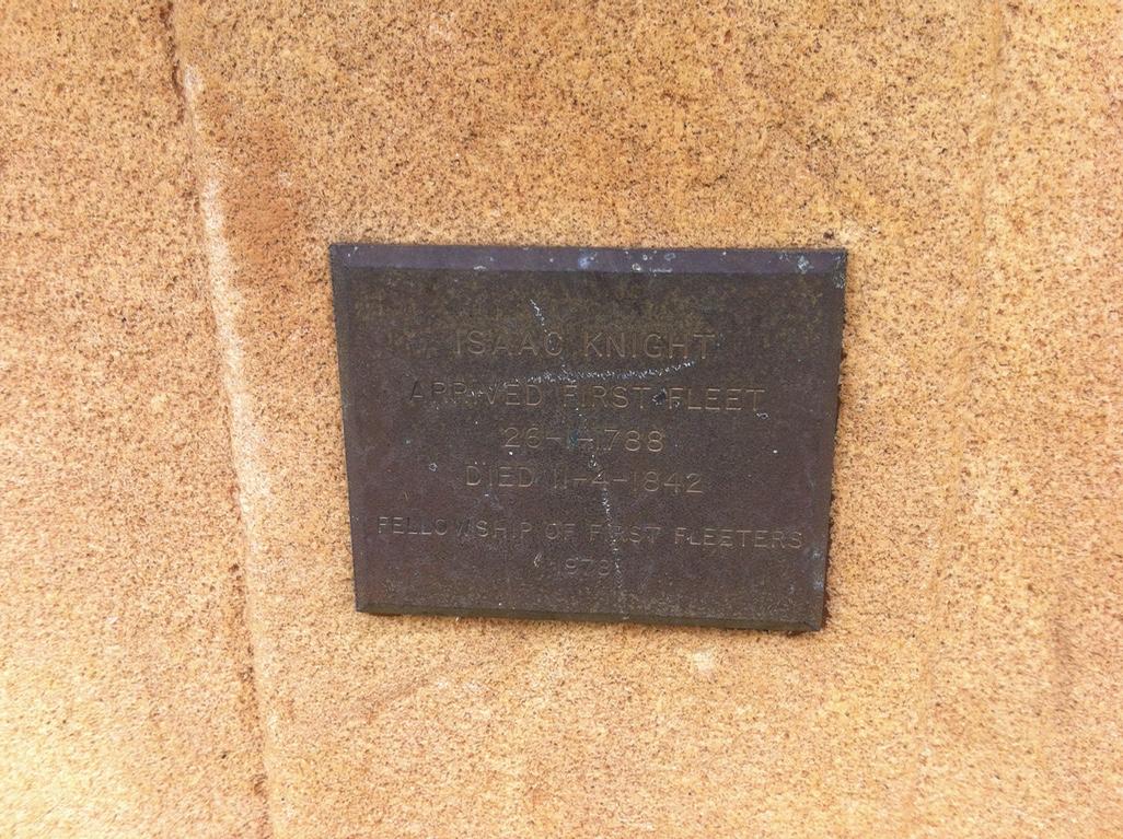 First Fleeter memorial plaque on Isaac Knight's grave. Photo: Michaela Ann Cameron (2016)