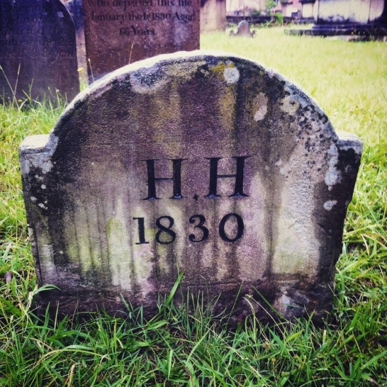 Hugh Hughes's footstone at St. John's Cemetery, Parramatta, Section 2, Row J, No. 6. Photo: Michaela Ann Cameron (2015)