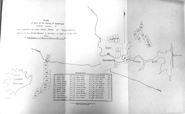 """William"" [Edward] Elliott's name is listed for Lot 35 on this plan of part of the County of Cumberland showing position of old grants at and near Town of Parramatta, Governor Phillip's Despatch to Secretary of State of 5 November 1791. Image: Alexander Britton, History of New South Wales from the Records, Vol. II: Phillip and Grose, 1789-1794 (Sydney: Charles Potter Government Printer, 1894)."