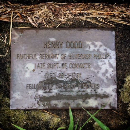 Henry Dodd's First Fleeters' memorial plaque. Photo: Michaela Ann Cameron (26 January 2016)