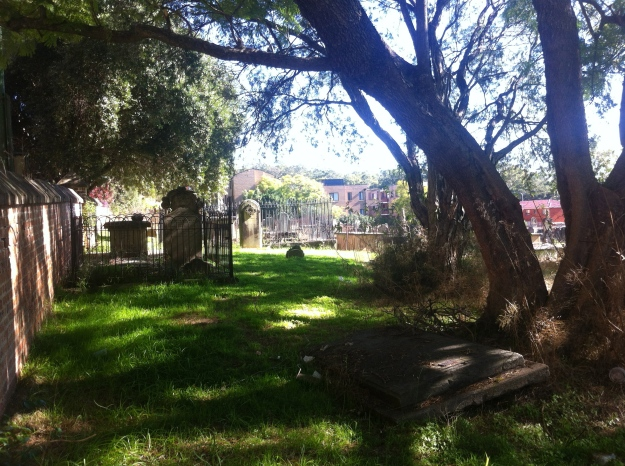 The roots of a shady tree lift the stone of the time-stealers' grave at St. John's Cemetery, Parramatta. Also buried with James and his wife Letitia is their daughter, Sheperdess Agland. Section 1, Row I, No. 21. Photo: Michaela Ann Cameron (18 July 2016)
