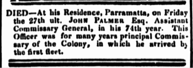 """Family Notices,"" The Sydney Monitor, Wednesday 2 October 1833, p.3"