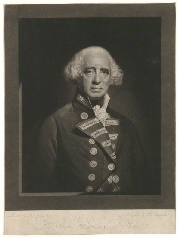 NPG D36352; Richard Howe, 1st Earl Howe by Robert Dunkarton, after  John Singleton Copley