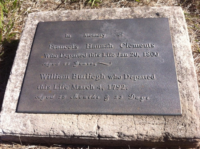 A plaque on on the grave of Frances Hannah Clements and her half-brother William Burleigh Arndell, Section 4, Row I, No.1, St. John's Cemetery, Parramatta. Photo: Michaela Ann Cameron (July, 2016)