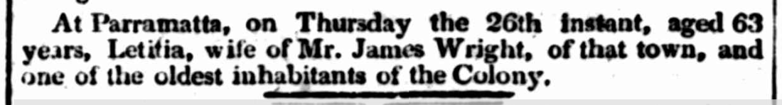 "Letitia Wright's Death Notice, ""No title,"" The Australian (Sydney, NSW: 1824 - 1848), Friday 29 June 1827, p.3"