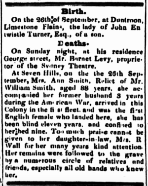 Ann Smith, First Fleet convict, first English female to land in New South Wales, St. John's Cemetery Project, Old Parramattans, St. John's First Fleeters, Parramatta, American Revolutionary War