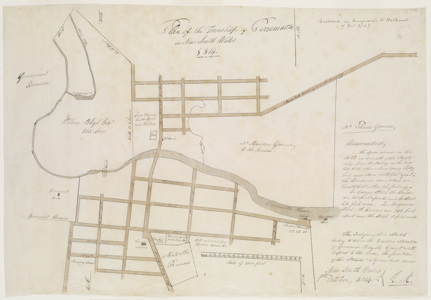 Plan of the Township of Parramatta in New South Wales 1814 [cartographic Material] / L. Macquarie