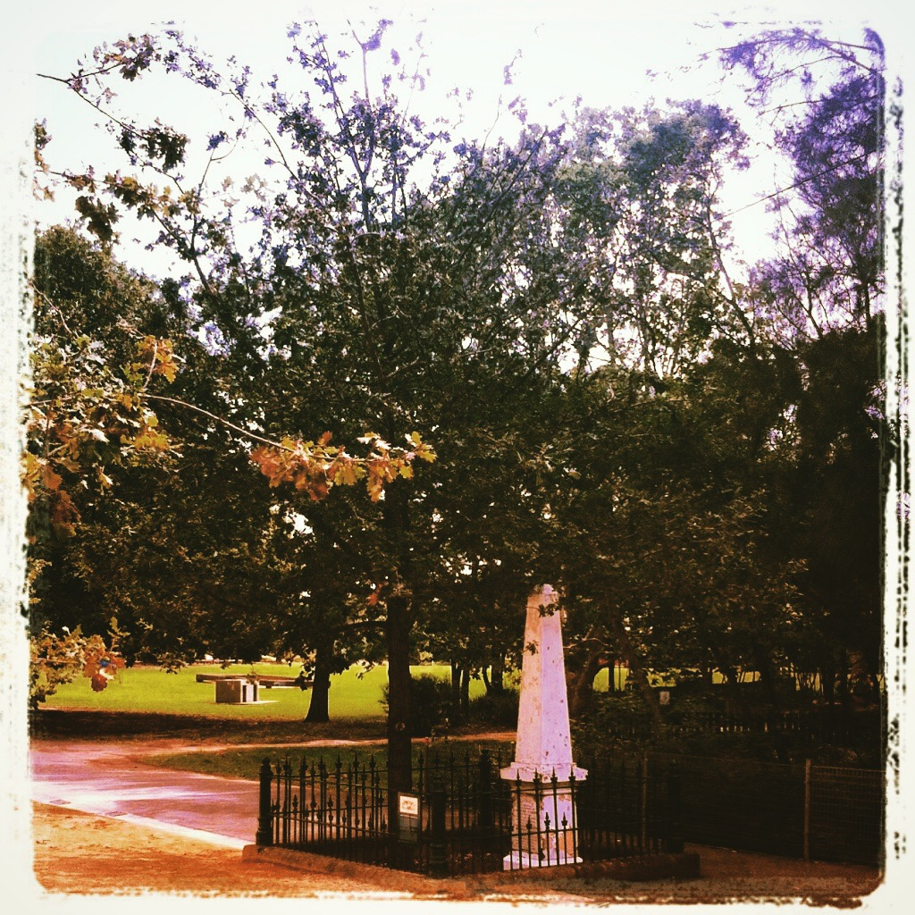 The Lady Fitzroy Memorial in the World Heritage listed convict site Parramatta Park, near the George Street 'Tudor' Gatehouse and Murray Gardens. The precise location of the accident and Lady Fitzroy and Lieutenant Masters' demise has been a matter of debate since the unfortunate event occurred, but a tree that once stood where this young Oak next to the obelisk now stands was, according to one eyewitness, the fateful tree. A white cross on the tree was the only memorial for years until the obelisk was erected. The Lady and the Lieutenant's double funeral was the largest public funeral ever conducted at the cemetery. Photo: Michaela Ann Cameron (2014)