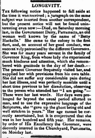 """LONGEVITY,"" The Colonist (Sydney, NSW: 1835 – 1840), Thursday 20 August 1835, p.5"