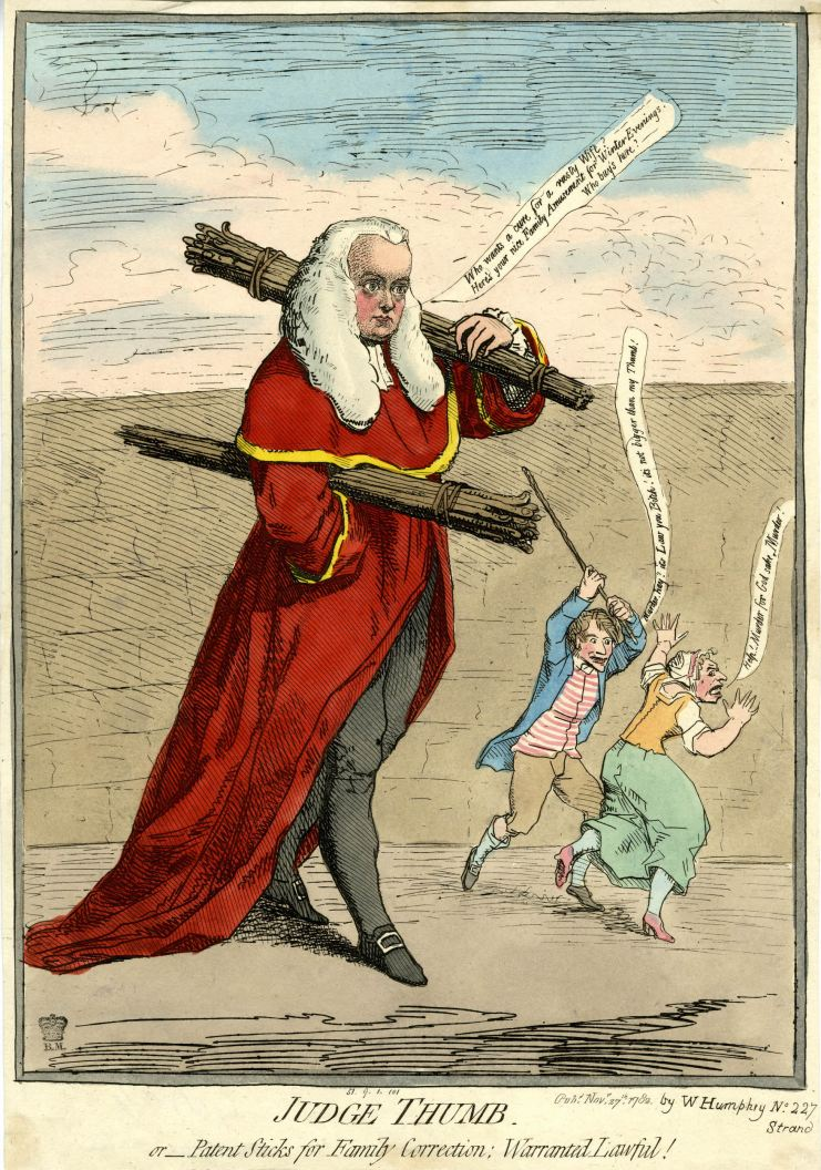 James Gillray, Judge Thumb, Patent Sticks for Family Correction, Warranted Lawful, Sir Francis Buller, Judge Buller, Rule of Thumb