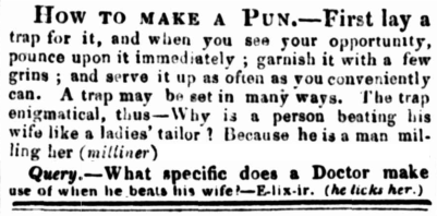 Newspaper clippings, 1830s, Sydney, Australia, nineteenth century pun, wifebeating, domestic violence