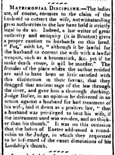 Matrimonial Discipline, Rule of Thumb, 1824, Judge Buller, Sir Francis Buller, Justice Thumb