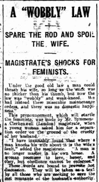 Wobby Law, Magistrate's Shocks for Feminists, Rule of Thumb, Twentieth Century