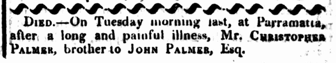 Christopher Palmer, St John's First Fleeters, Notable Parramattans, First Fleet, St John's Cemetery Project, St John's Cemetery Parramatta