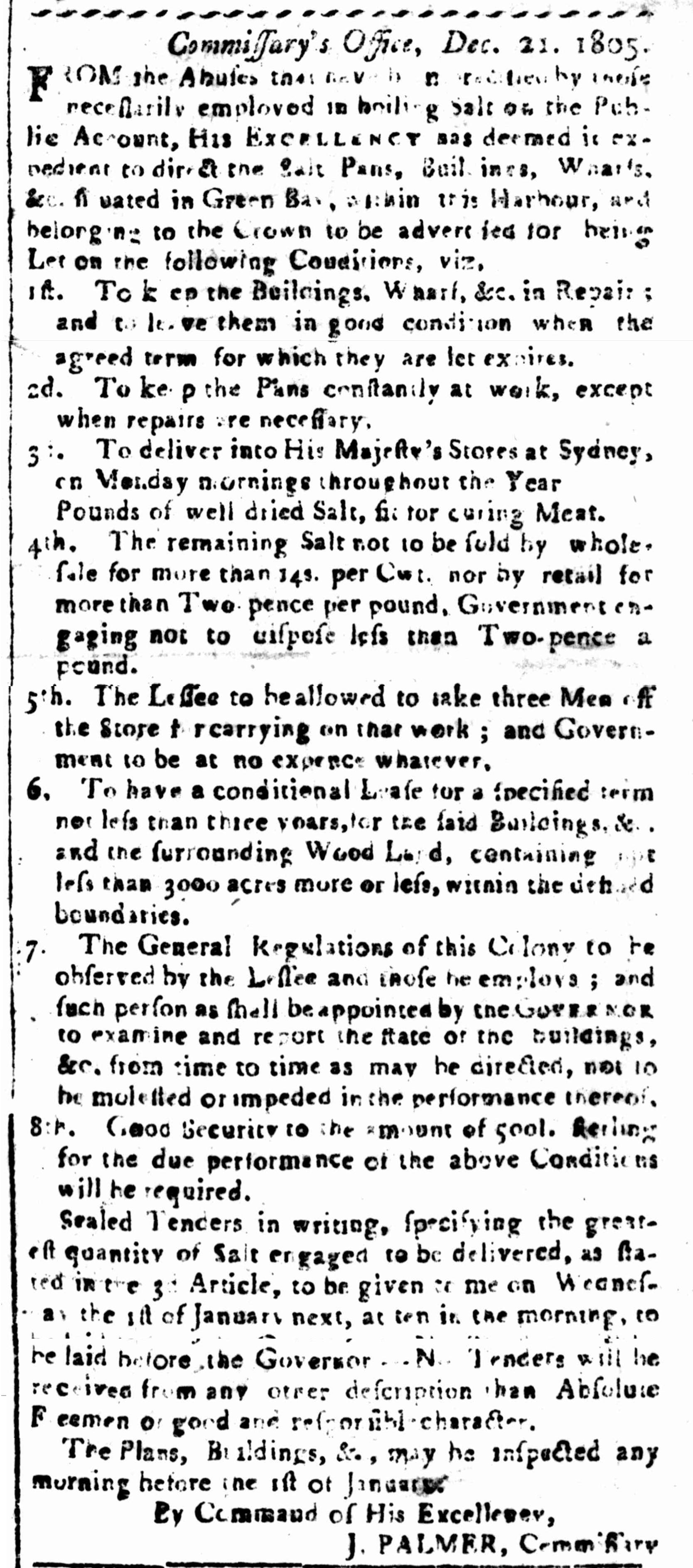 John Palmer, Advertisement, Commissary, 1800s, nineteenth-century, Sydney, New South Wales, Australian History, St. John's Cemetery Project, Old Parramattan, St. John's First Fleeters, First Fleet