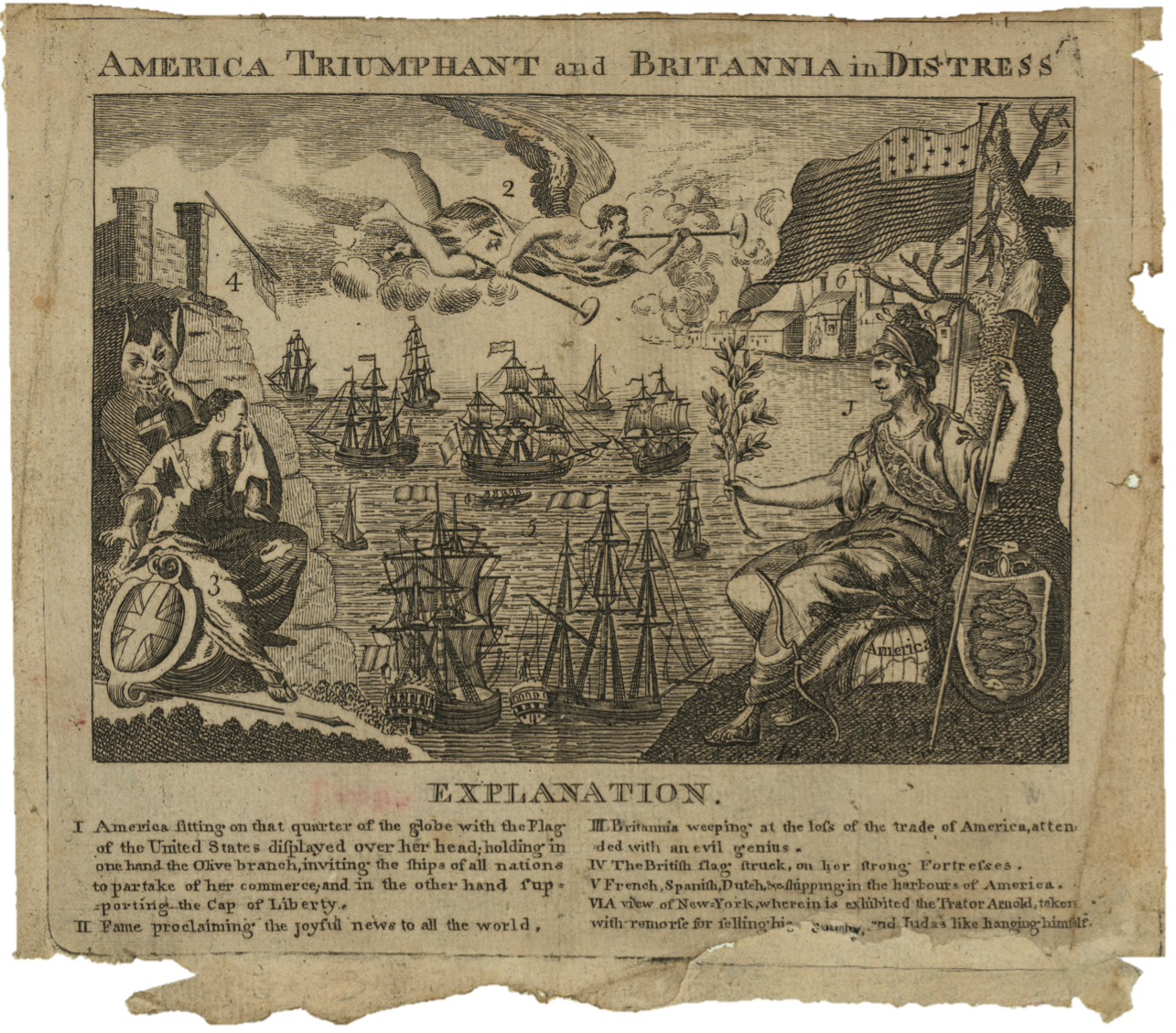 America Triumphant and Britannia in Distress, American Revolutionary War, 1782, Boston, American War of Independence, American War