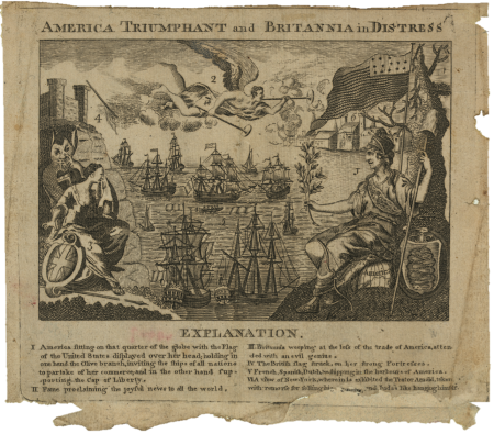 America Triumphant and Britannia in Distress, American Revolutionary War, 1782, Boston, American War of Independence, American War
