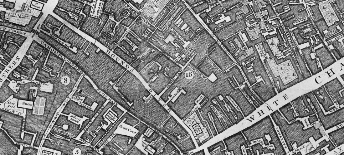 Cock-and-Hoop-Yard, Gravel Lane, Houndsditch Street, London, site of St. Botolph Aldgate Workhouse from 1767, John Rocque Map, Locating London, St. John's Cemetery Project, Old Parramattans