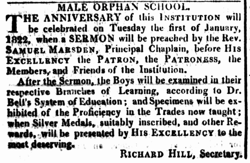 Male Orphan School, Sydney, 1821, Sydney Gazette, Orphanage, Nineteenth-Century Orphan Institution, St. John's Cemetery Project, St. John's First Fleeters, First Fleet, Old Parramattans, Children, Welfare