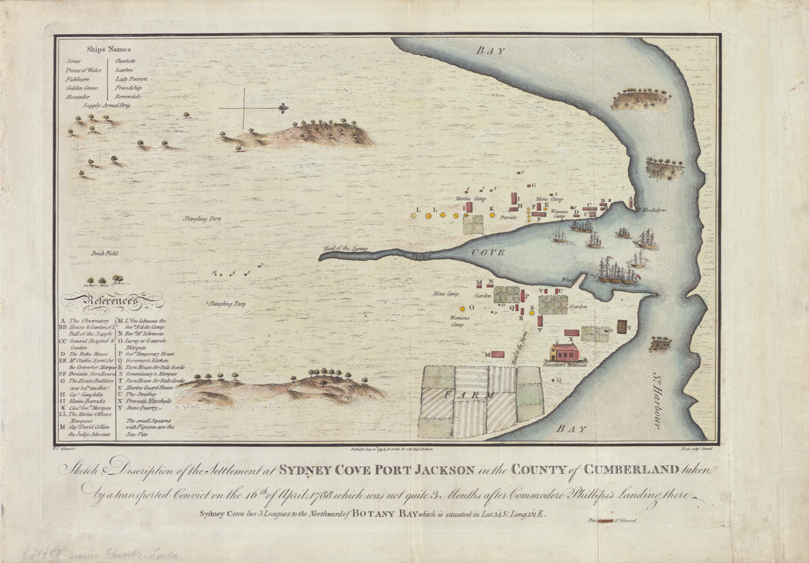 Map of Settlement at Sydney Cove, Port Jackson, Colony of New South Wales, 1788, Francis Fowkes, St. John's Cemetery Project, Old Parramattans, St. John's First Fleeters, First Fleet