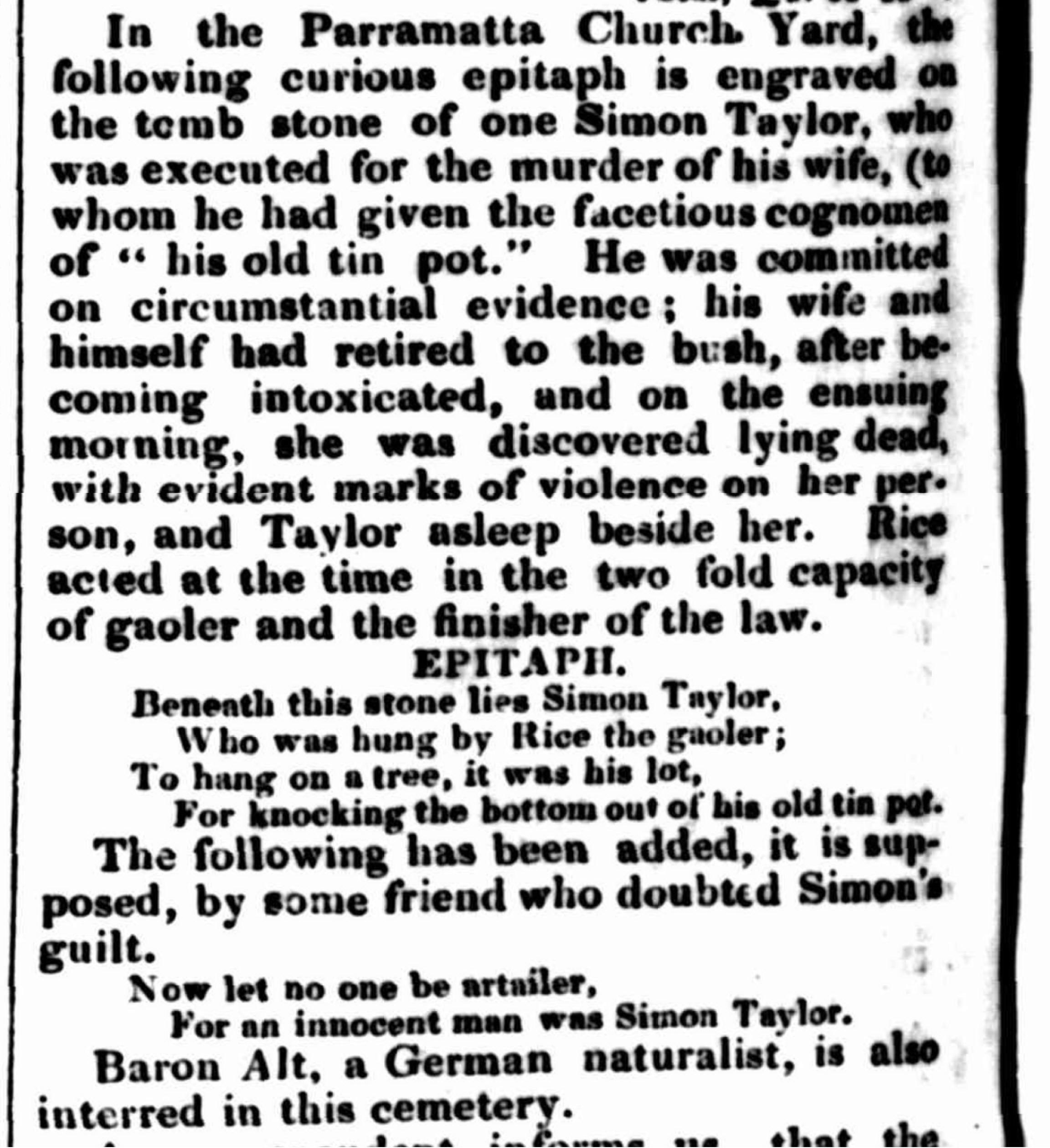 Curious Epitaph, Simon Taylor, Ann Taylor, Murder, Parramatta, 1799, 1790s, Old Parramatta, Old Parramattans, St. John's Cemetery Project, St. John's Cemetery, Parramatta Burial Ground