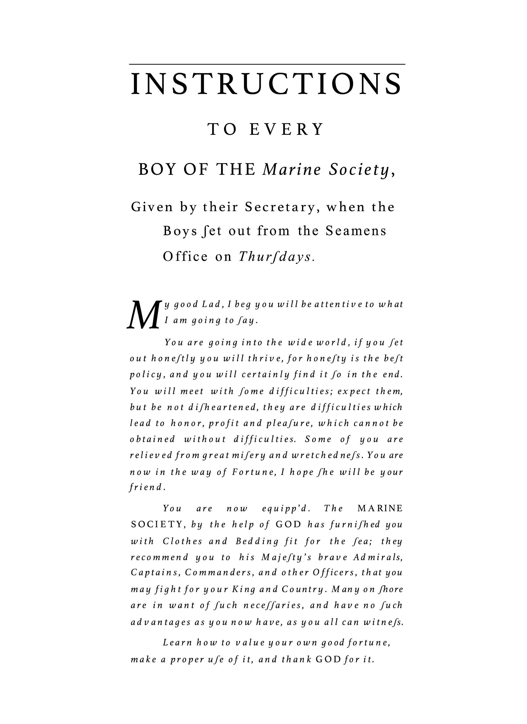 Marine Society, Instructions to Every Boy, Jonas Hanway, Bishopsgate, London, St. John's Cemetery Project, Old Parramattans, Benjamin Ratty Convict Constable