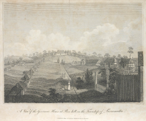 David Collins, A View of the Governor's House, Rose Hill, Parramatta, 1790s, First General Hospital, The Tent Hospital, St. John's Cemetery Project, St. John's First Fleeters, Convict Hospital, Surgeon John Irving, Old Parramattans