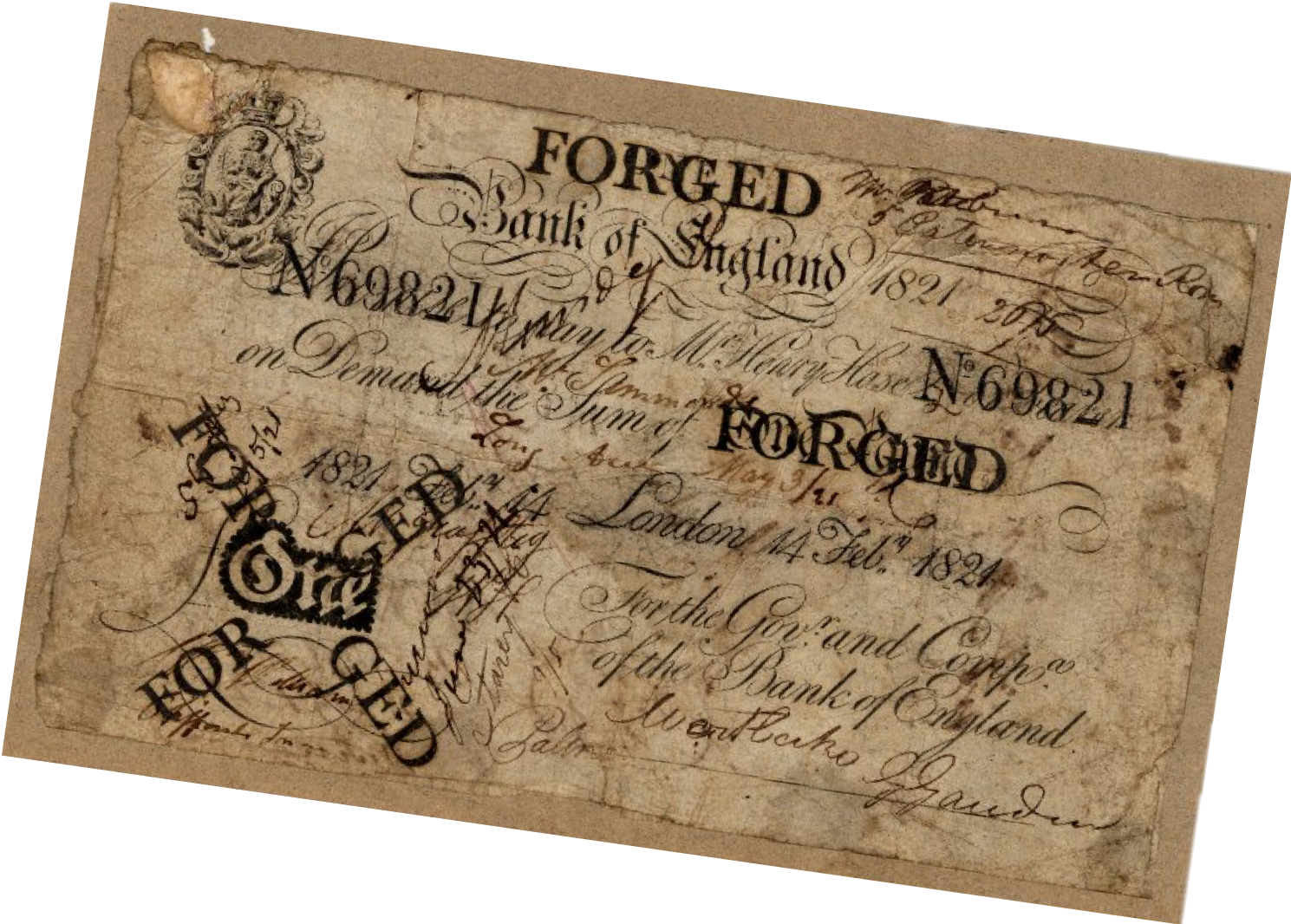 Forgery, Bank of England, Bank Note, 1 pound, Counterfeit, St. John's Cemetery Project, Old Parramattans, Sarah Moses, Tell the World I Died for Love, Died of Broken Heart