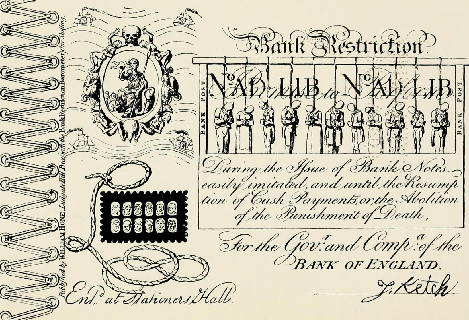 George Cruikshank, Bank Restriction Note, Satire, Protest, Uttering, Forgery, Bank Notes, Currency, St. John's Cemetery Project, Old Parramattans, Convicts, Transportation, Sarah Moses, Tell the World I Died for Love, Died of Broken Heart, Bank of England