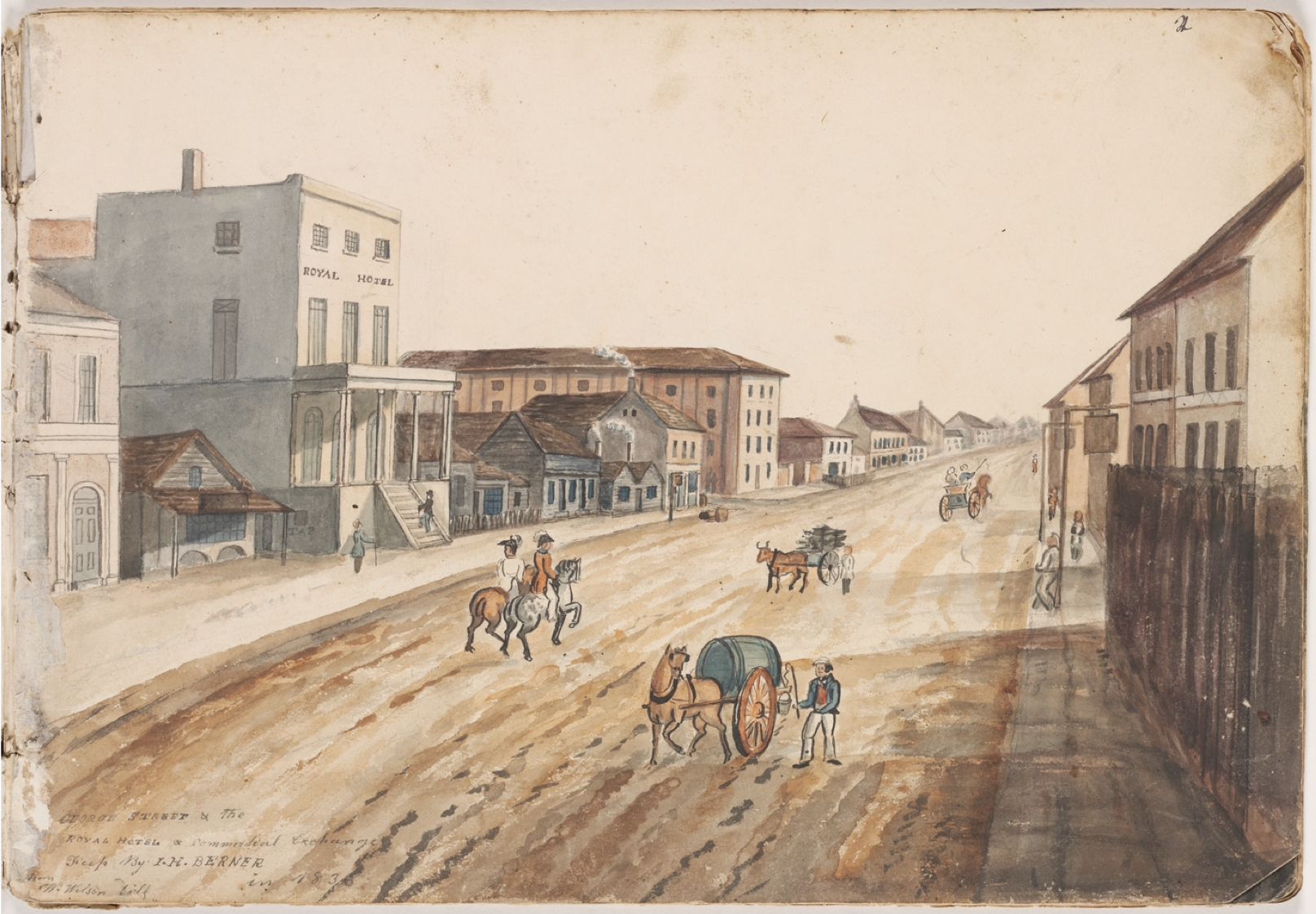 George Roberts, George Street, Sydney, Royal Hotel, Commercial Exchange, 1836, Streetscape, New South Wales, St. John's Cemetery Project, Old Parramattans, Sarah Moses, Tell the World I Died for Love, Died of Broken Heart