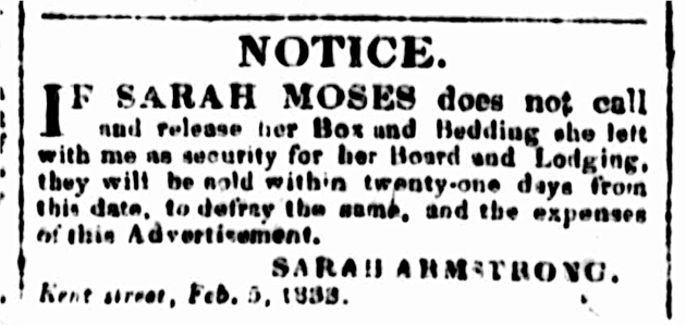 Sarah Moses, wife of Moses Moses, formerly of Hobart Town, of the White Hart Inn, Yass, Kent Street Sydney, St. John's Cemetery Project, Old Parramattans, Tell the World I Died for Love, Died of Broken Heart