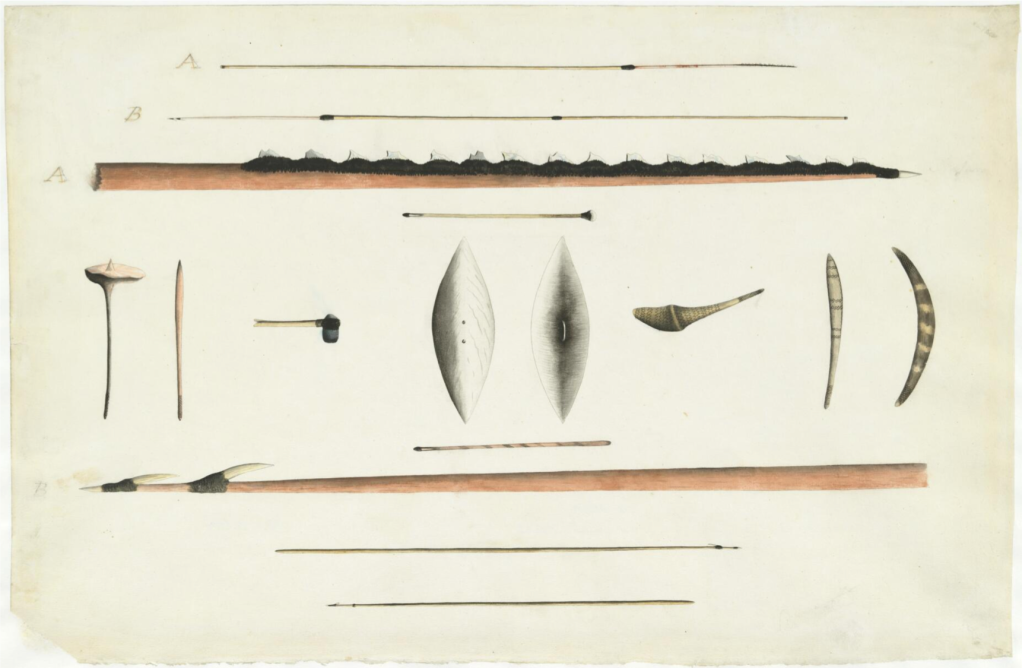 Port Jackson Painter, Aboriginal Hunting Implements and Weapons, First Fleet, Sydney, Port Jackson, New South Wales, Spears, First Peoples, St. John's Cemetery Project, Old Parramattans, Sydney First Hospital, John Irving