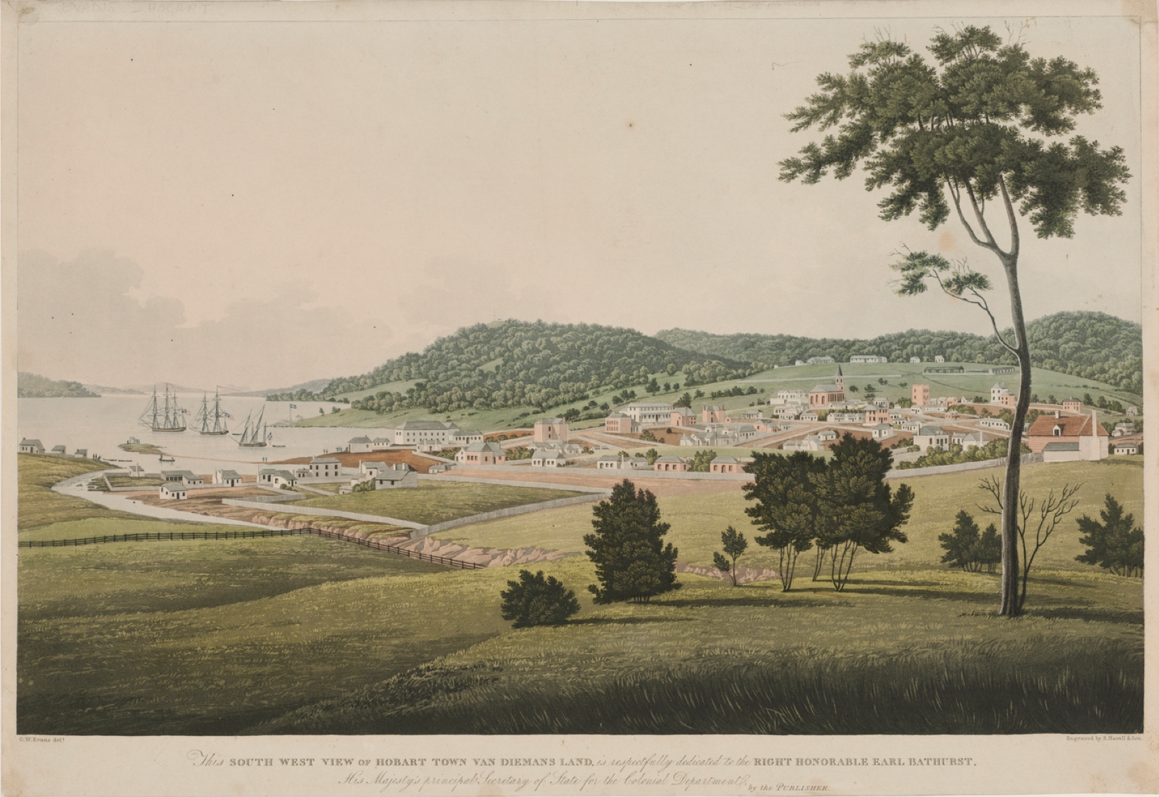 George William Evans, South-west View of Hobart Town, 1819, Van Diemen's Land, Tasmania, Sarah Moses, Tell the World I Died for Love, Died of Broken Heart, Moses Moses, Convicts, St. John's Cemetery Project, Old Parramattans, St. John's Cemetery, Parramatta
