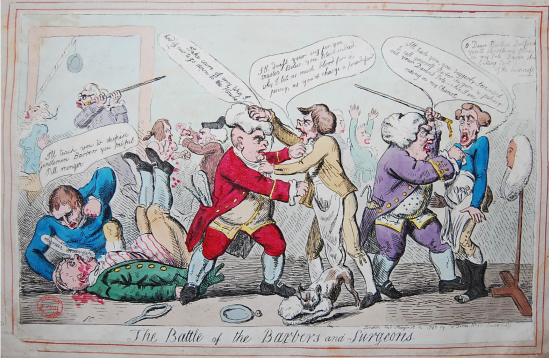 Isaac Cruikshank, Battle of the Barbers and Surgeons, S. W. Fore, London, 1797, Medicine, Medical History, Eighteenth-Century Medicine, St. John's Cemetery Project, Old Parramattans, John Irving