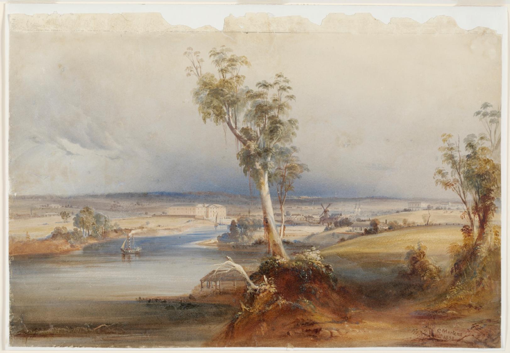 Conrad Martens, View of Parramatta, 1838, Samuel Marsden, Macarthur, James Ruse, John Irving, Thomas Arndell, Vineyards, Parramatta, St. John's Cemetery Project, Old Parramattans