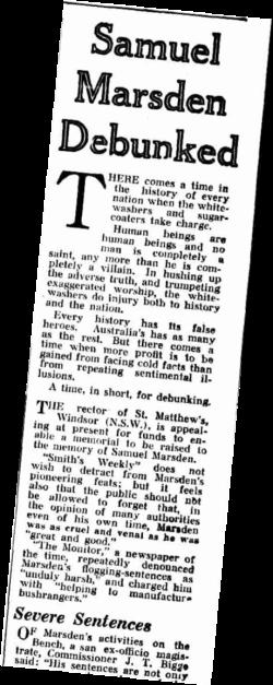Samuel Marsden Debunked, 1938, St. John's Cemetery Project, Old Parramattans, St. John's Cemetery, Parramatta