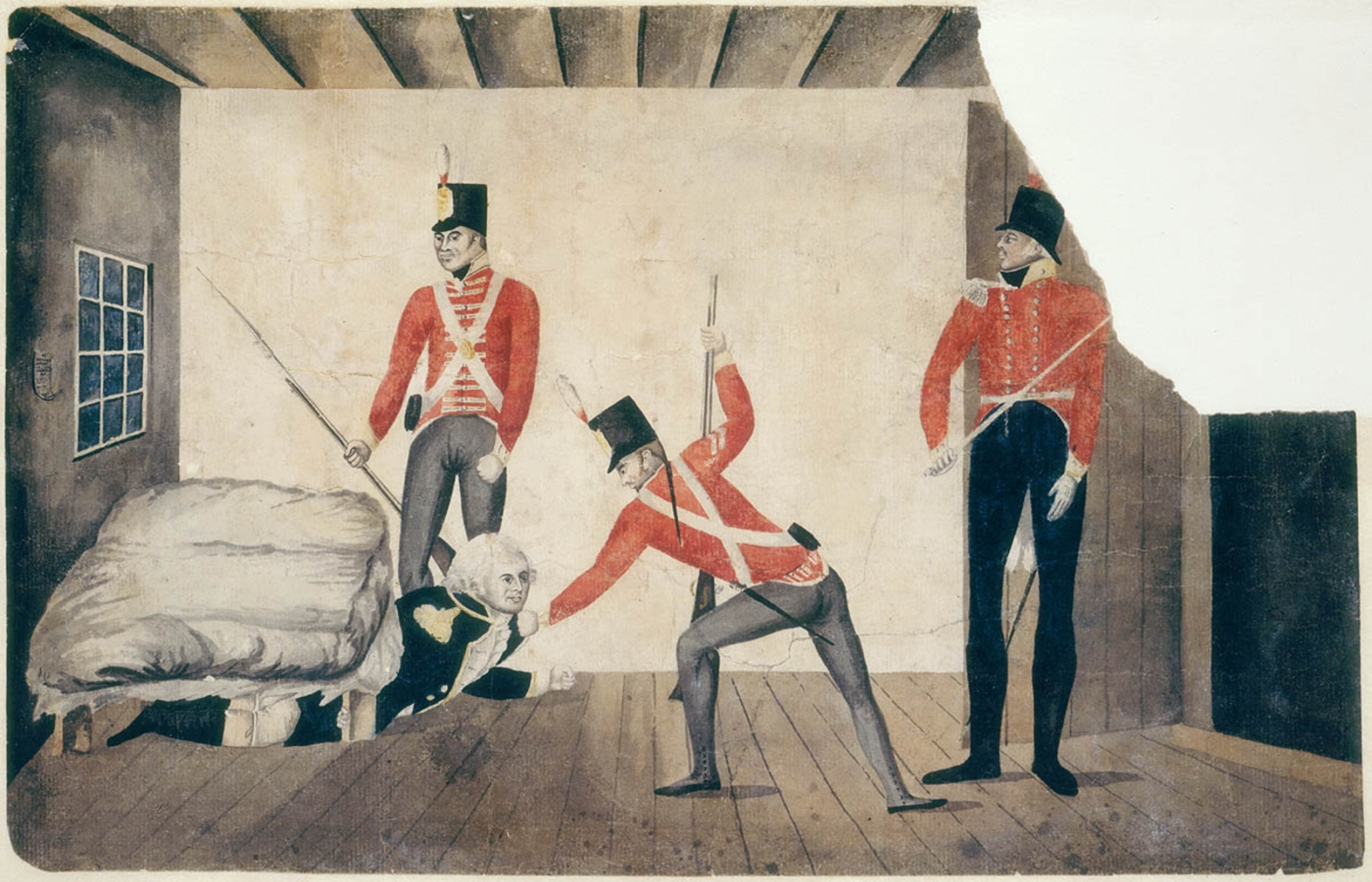 The Arrest of Governor Bligh, 1808, William Bligh, Surgeon John Harris Esquire, St. John's Cemetery Project, Old Parramattans, Rum Rebellion, St. John's Cemetery, Parramatta, Sydney, Govn. Bligh under the Bed, Sketch of Bligh's / arrest by / Lieut. Michin