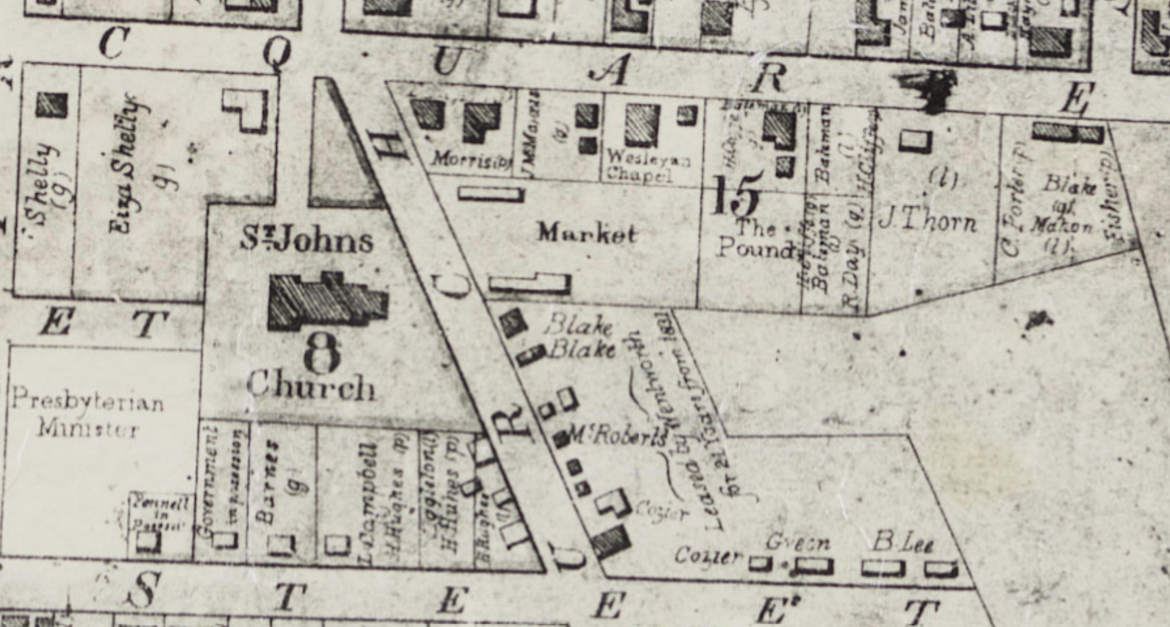 Plan of Parramatta 1844, Market Place, (Parramatta Town Hall), Jane Poole, Jane McManus, Macquarie Street, Parramatta, St. John's Cemetery Project, Old Parramattans, St. John's First Fleeters, First Fleet convict