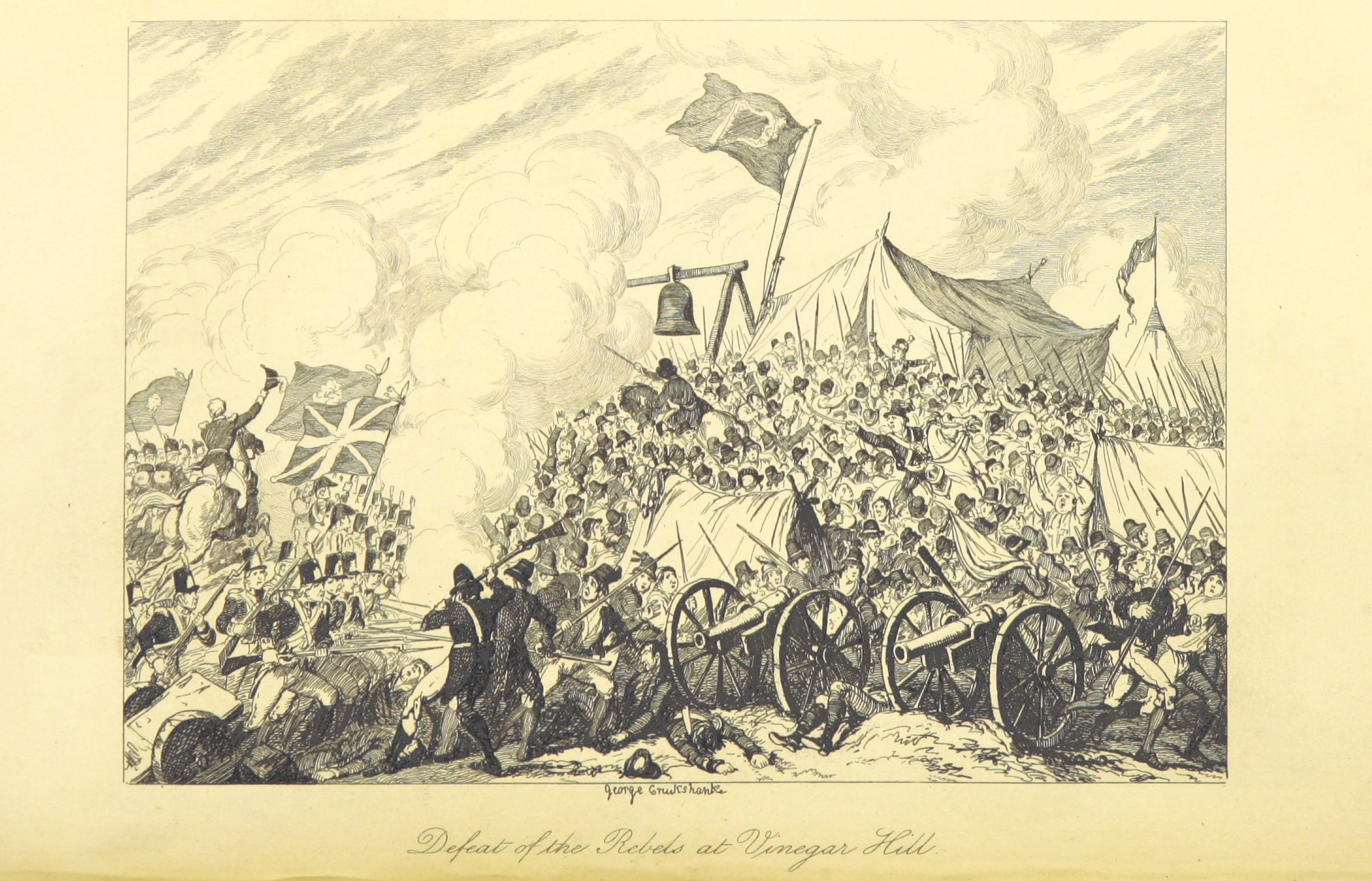 George Cruikshank, Defeat of the Rebels at Vinegar Hill, Enniscorthy, County Wexford, United Irishmen, First Battle of Vinegar Hill, Irish rebels, Irish rebellion