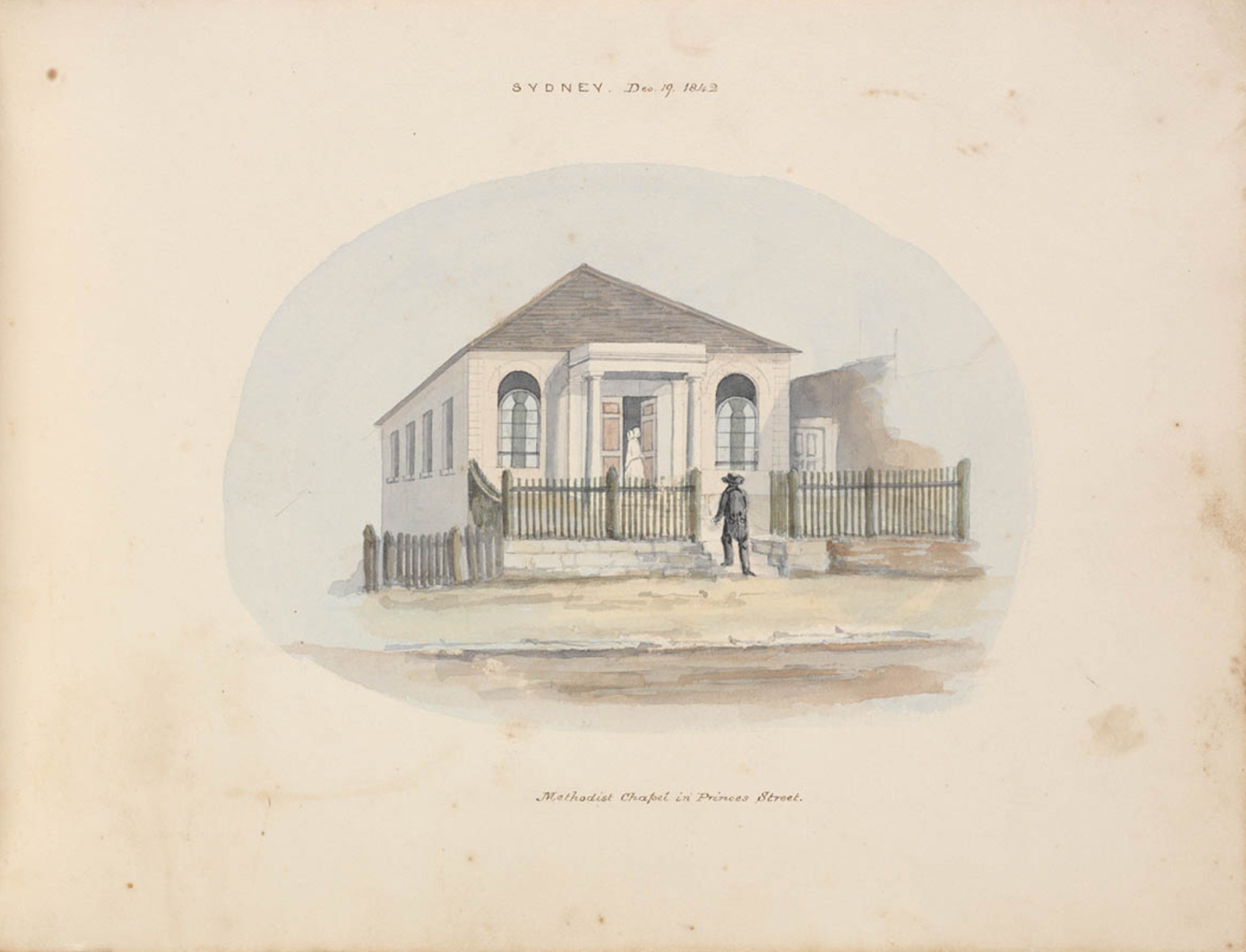 First Wesleyan Chapel, Princes Street Chapel, The Rocks, Methodist, St. John's Cemetery Project, Old Parramattans, Reverend Samuel Leigh, Catherine Leigh, E. T. Blacket, Sketch