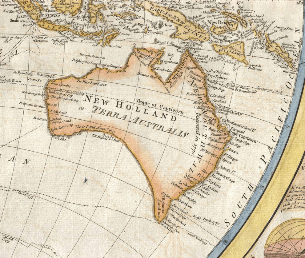 New Holland, Terra Australis, New South Wales, 1794, Samuel Dunn, A General Map of the World, Thomas Kitchin, General Atlas, Name-Calling, Dual Naming Policy, St. John's Cemetery Project, St. John's Cemetery, Parramatta