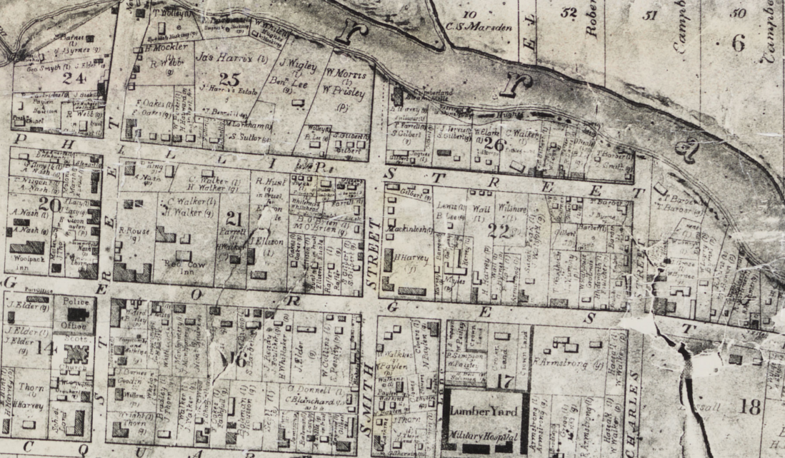 Plan of Parramatta, town map, 1844, George and Phillip Streets, St. John's Cemetery Project, the Barbers, Lydia Childs, Lydia Parker, Lydia Barber, A Real Tess of the d'Urburvilles, Thomas Hardy, St. John's Cemetery Project, St. John's Cemetery, Parramatta, Old Parramattans, Melbury Osmond, Dorset, Convict