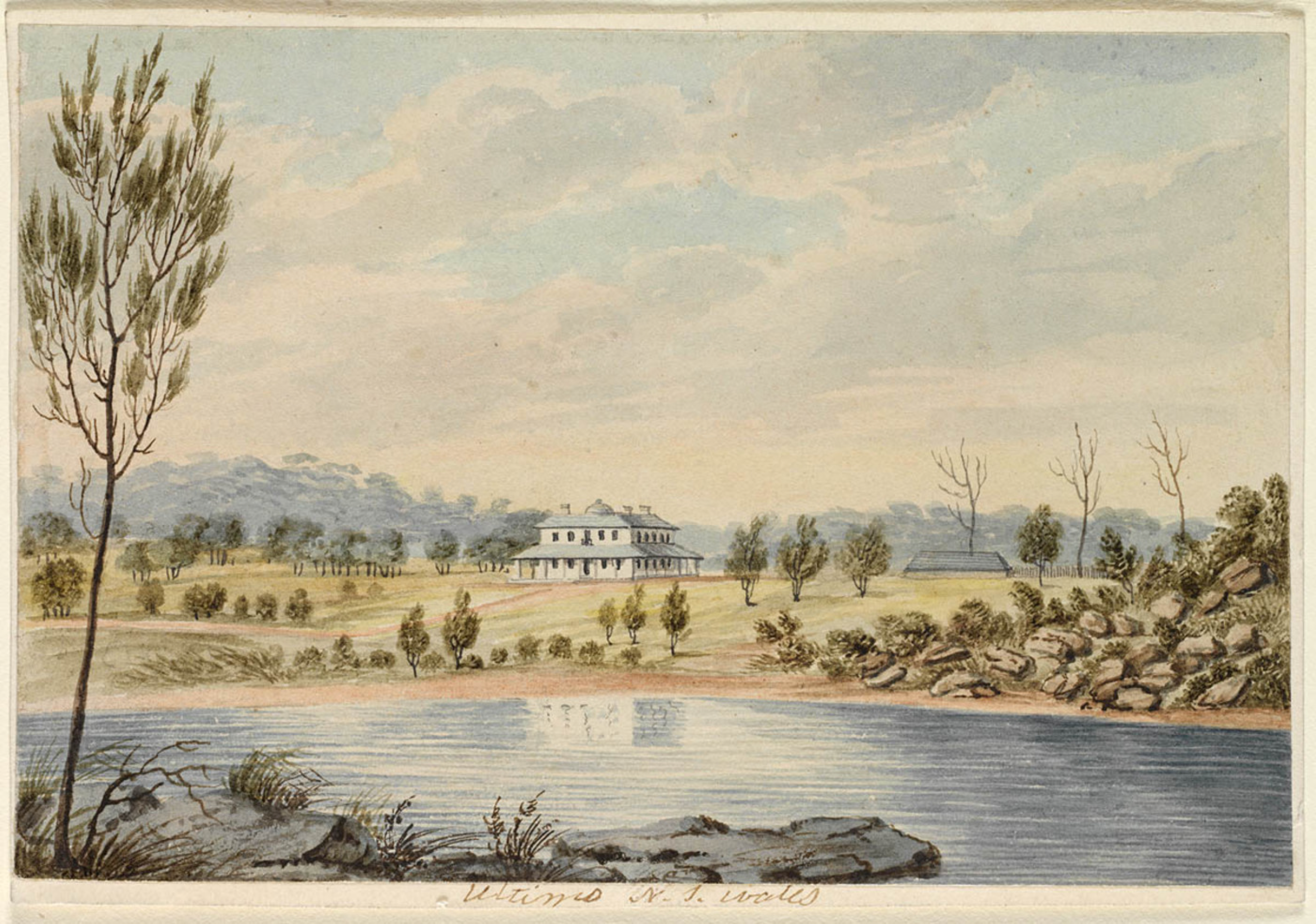 Joseph Lycett, East View of Ultimo, Sydney, property of Surgeon John Harris, Esquire, 1820, St. John's Cemetery Project, Old Parramattans, Francis Greenway, St. John's Cemetery, Parramatta, UTS, University of Technology Sydney