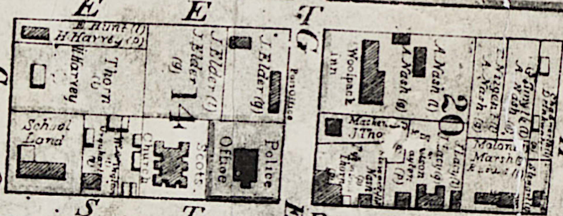 1844 Map Police Office and Scots Church